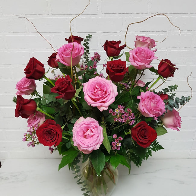 24 Pink and Red Deluxe Roses -Vase Arrangement