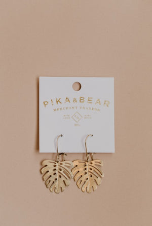 Pika & Bear Brass Monstera Leaf