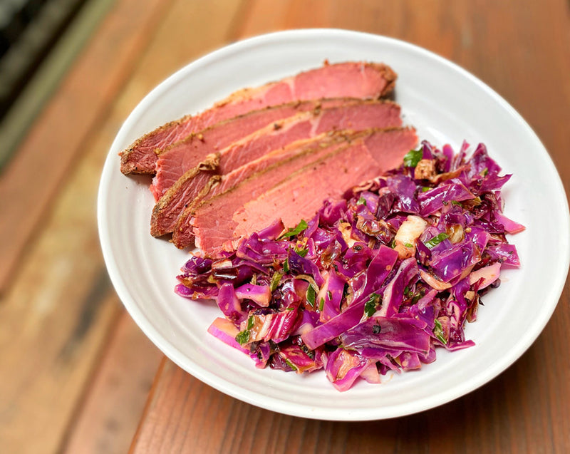Sous Vide Corned Beef with Smokey Rueben Slaw