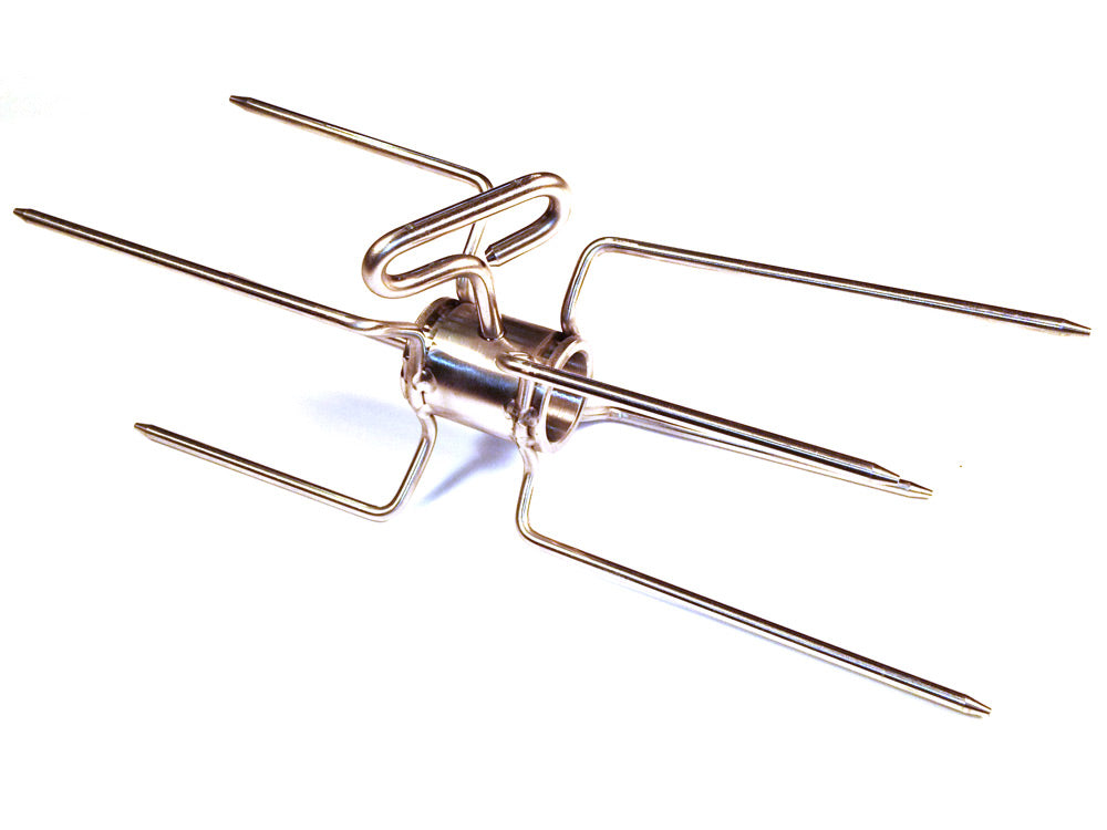 Stainless Double Rotisserie Spit Fork for 7/8 Inch Spit