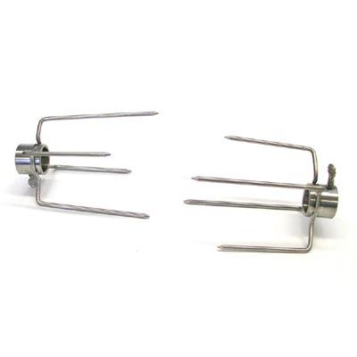 Stainless Rotisserie Forks for 7/8 Inch Spit - 4 Prong, PAIR