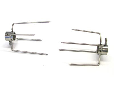 Stainless Rotisserie Forks for 1 Inch Spit - 4 Prong, PAIR