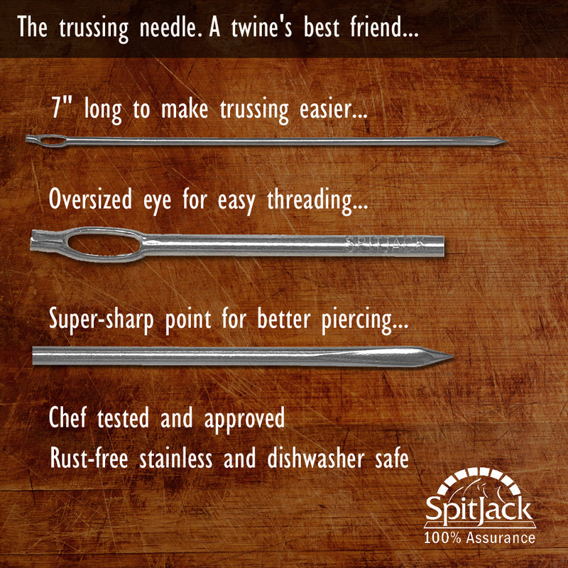 "SpitJack 7"" Stainless Steel Trussing Needle for Whole Hog, Pig, Lamb, Roast Beef & Turkey (Two Pack)"
