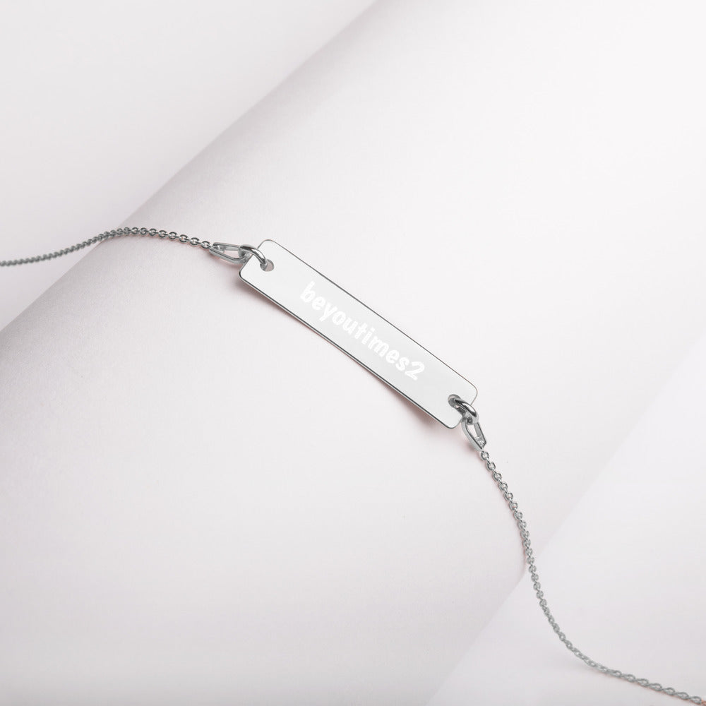 beyoutimes2 Engraved Silver Bar Chain Necklace