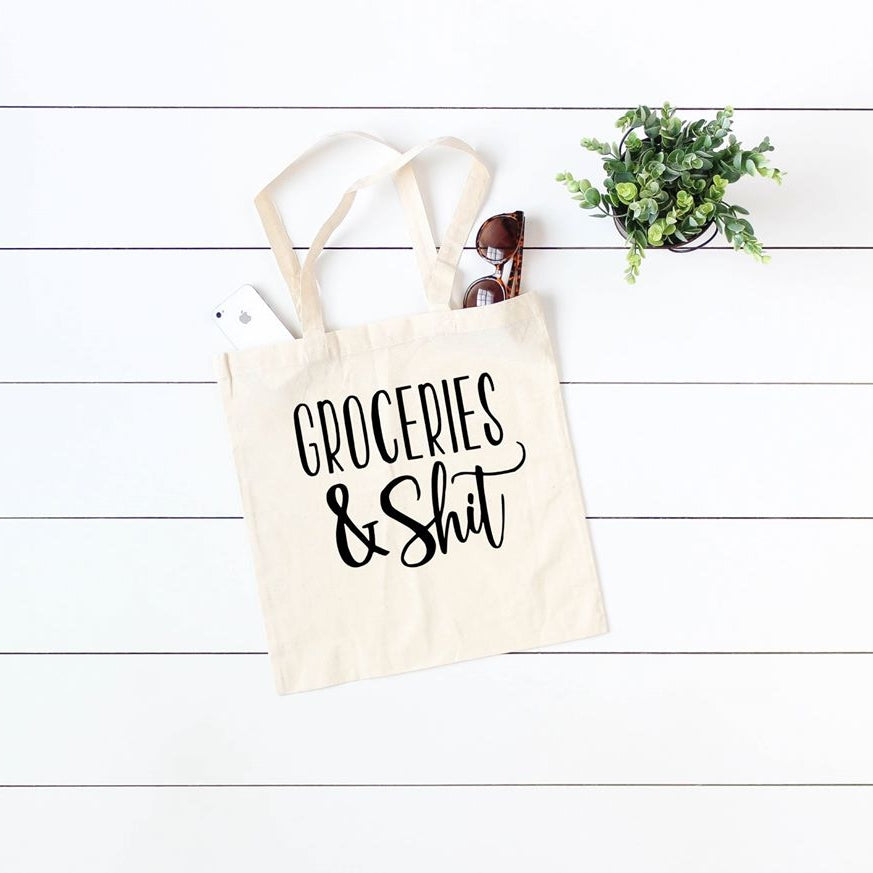 Groceries & Shxt Canvas Tote