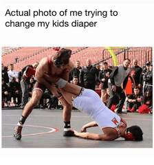 diaper changing wrestling match