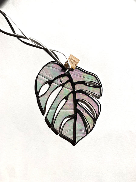 Iridescent Textured Clear • Monstera Leaf