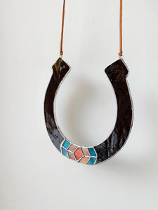 Earthy Brown • Stained Glass Horseshoe