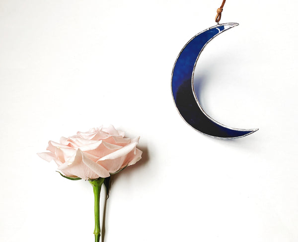 "Textured Rich Navy Blue • 5.5"" Crescent Moon"