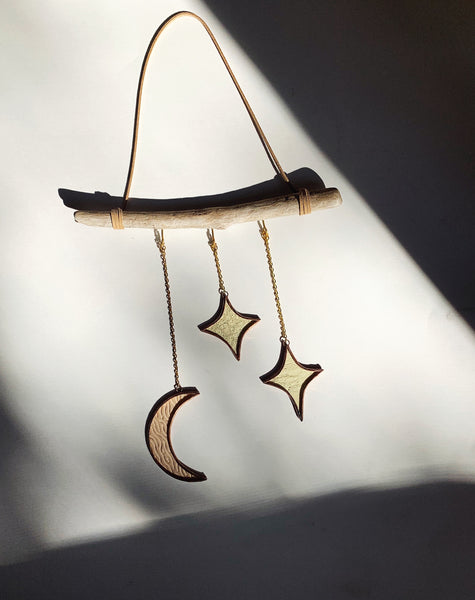 Moon and Stars on Driftwood