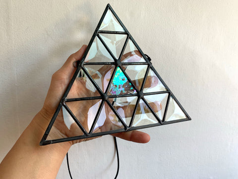 "7 x 8"" Beveled Triangle with Iridecent Pop"