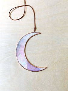 Opaque Iridescent Rose Crescent Moon