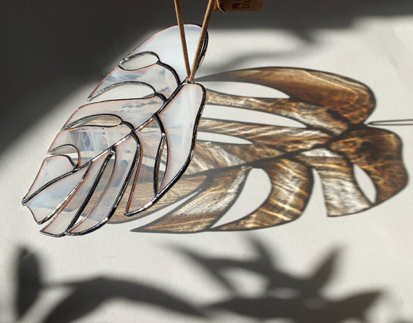 Wispy White (with golden reflections!) • Monstera Leaf