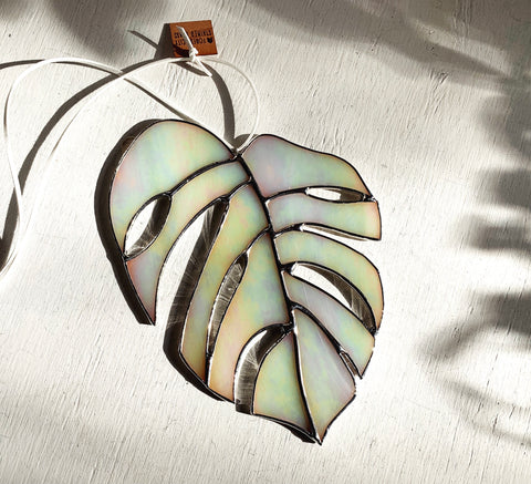 Monstera Leaf • Iridescent Eggshell