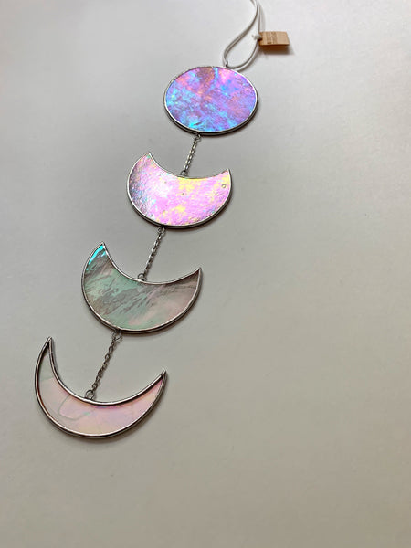 Mottled Pink and White • Iridescent Half Moon Mobile