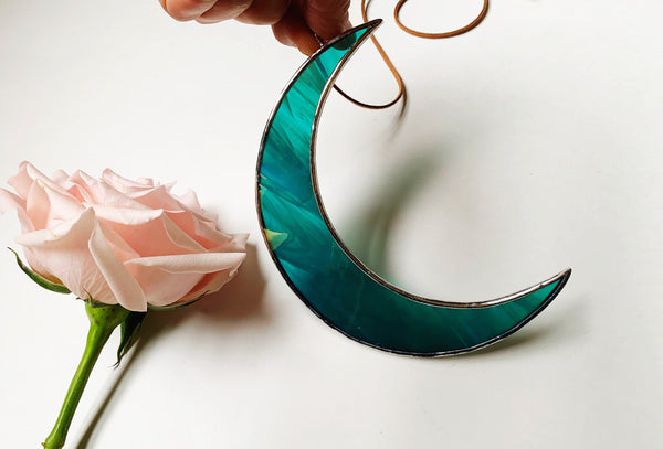 "Iridescent Teal • 5.5"" Crescent Moon"