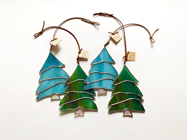 Iridescent Green • Stained Glass Winter Pine