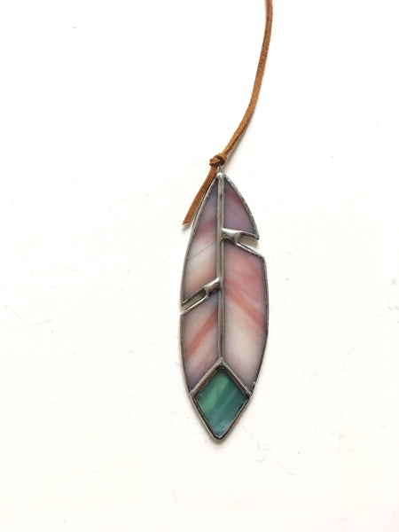 Cranberry, White, and Teal Stained Glass Feather