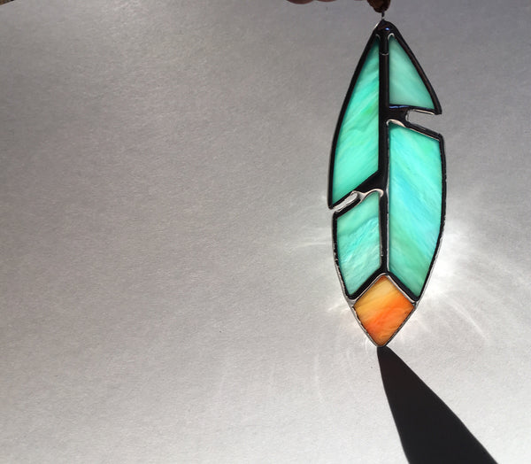 Teal + Tangerine Stained Glass Feather