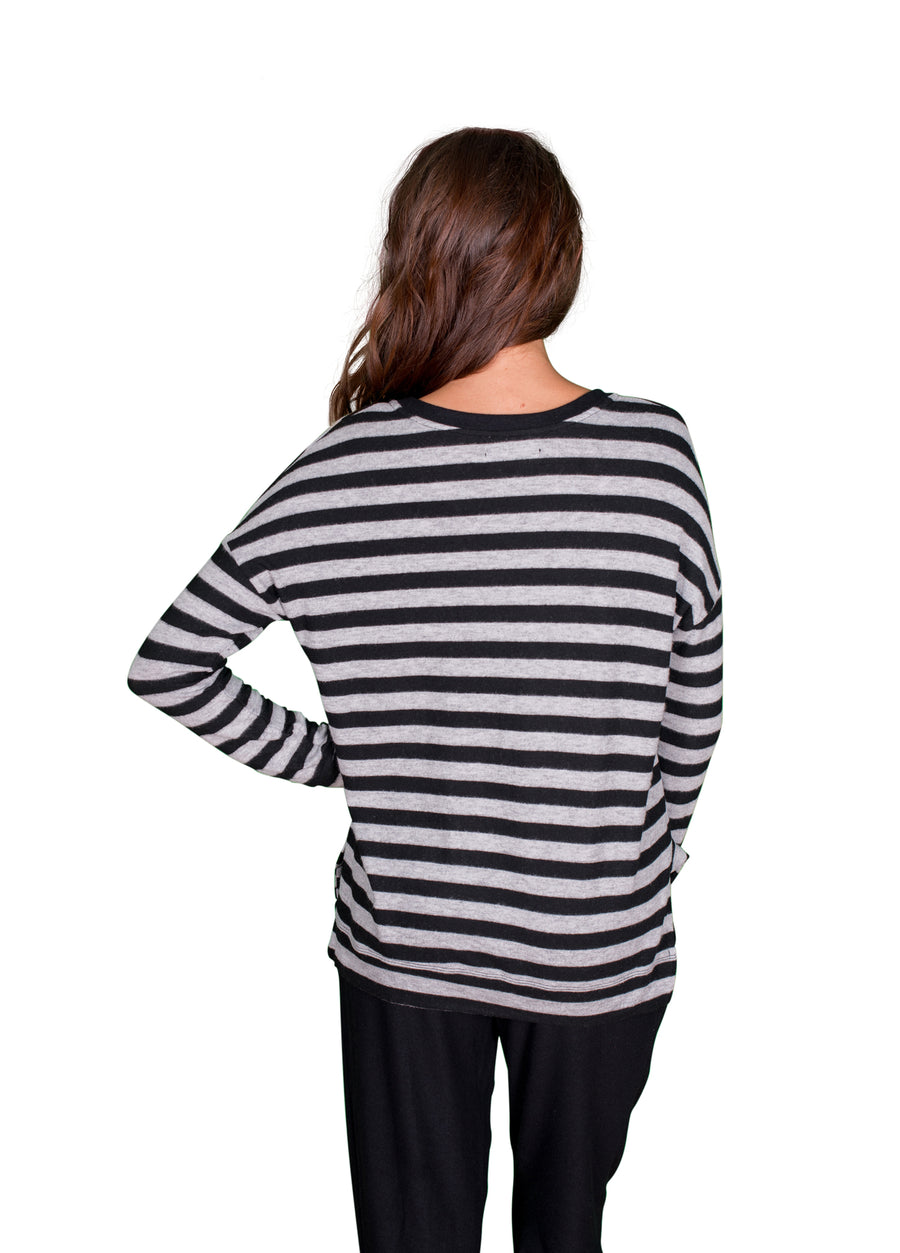 Velvet by Graham & Spencer Teresita Cozy Jersey Striped Sweatshirt-Velvet-Vintage Fringe