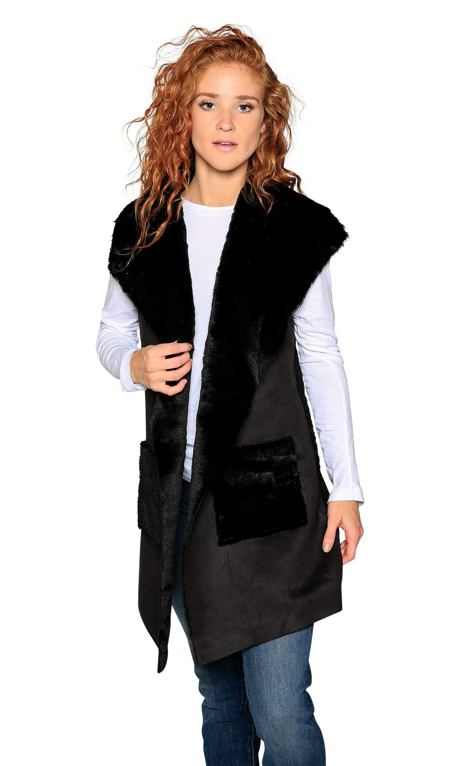 Love Token Andrea Faux Shearling Long Vest-Love Token-Vintage Fringe