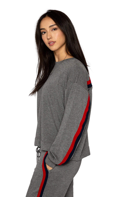 Velvet by Graham & Spencer Danica Striped Crewneck Sweatshirt - Charcoal-Velvet-Vintage Fringe
