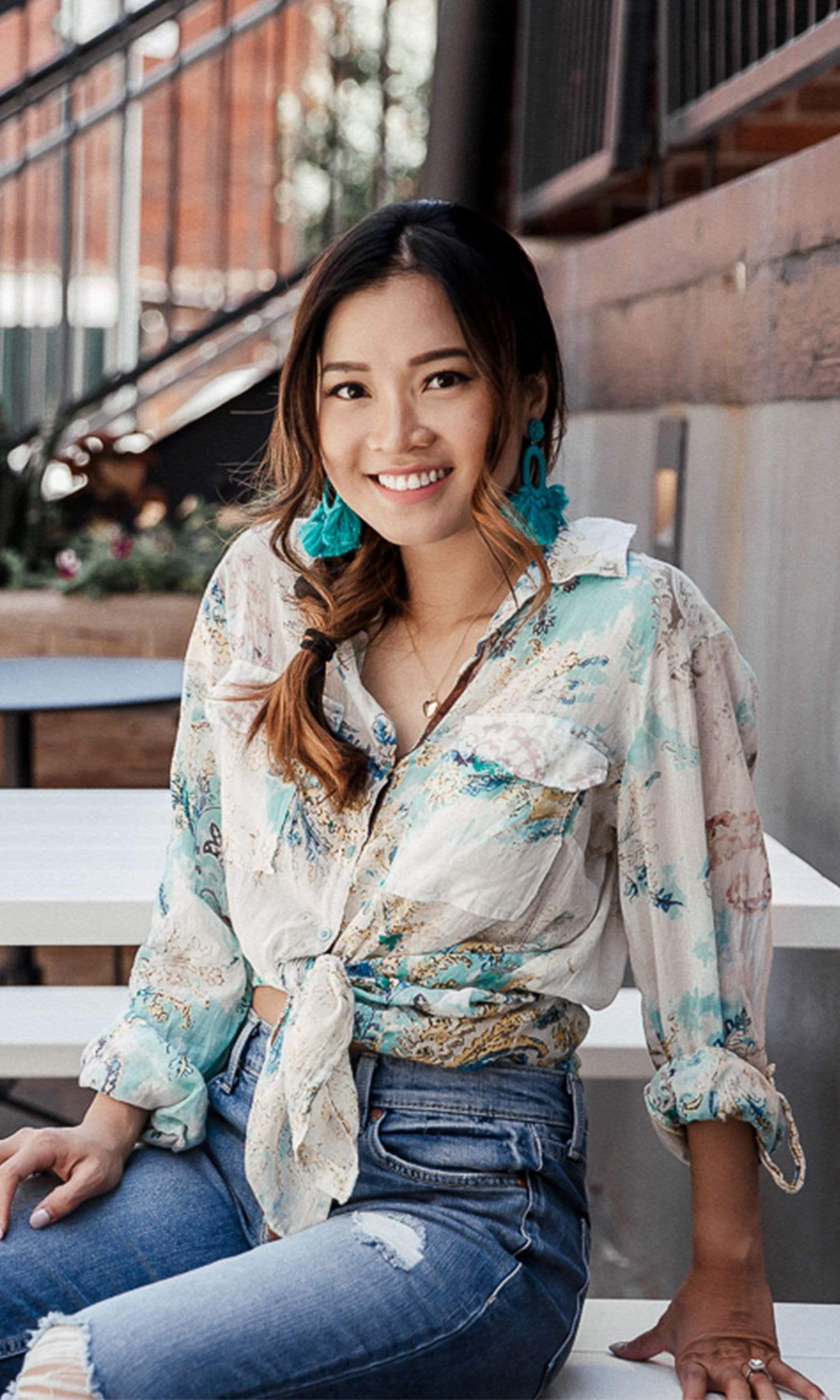 J.A.K. Button Down Teal Floral Shirt