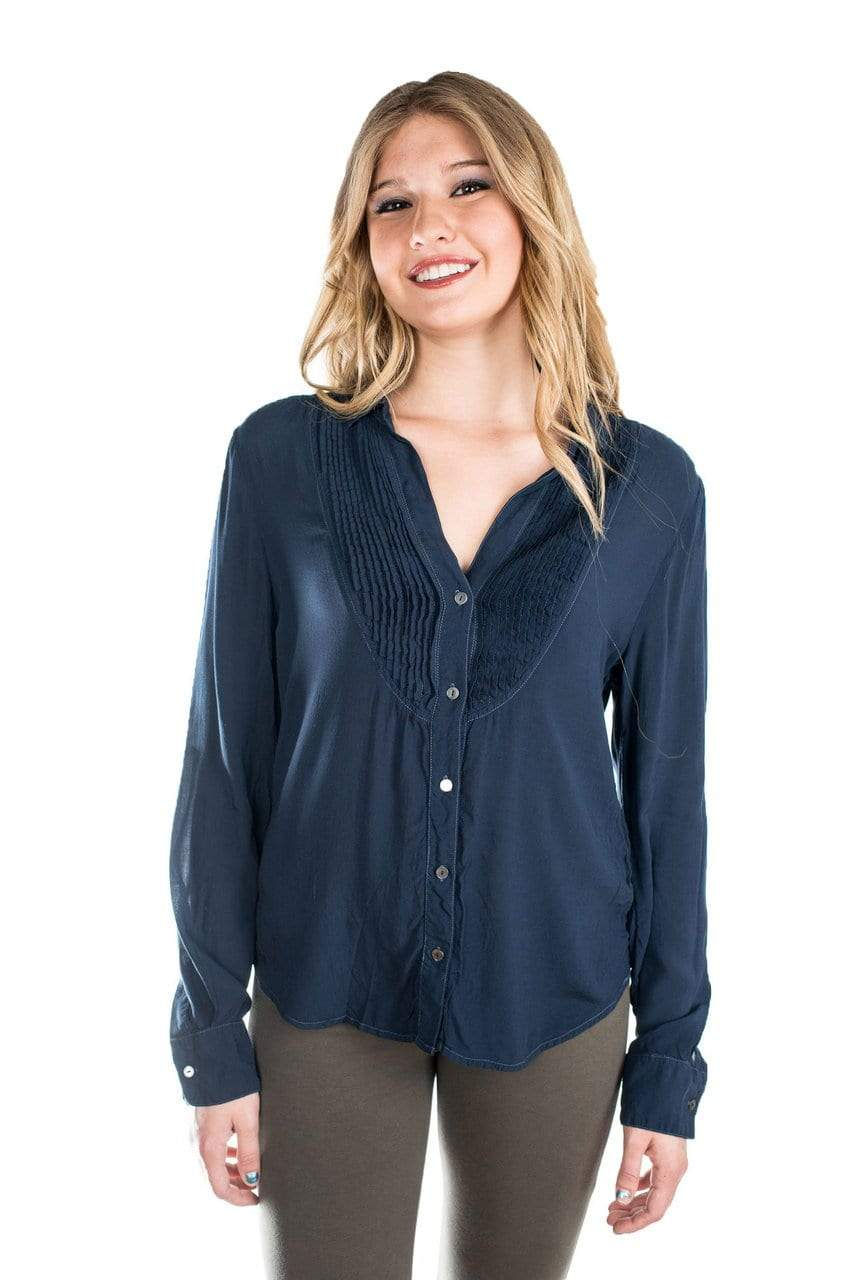 Velvet by Graham & Spencer Vesta Pintuck Tuxedo Blouse - FINAL SALE-Velvet-Vintage Fringe