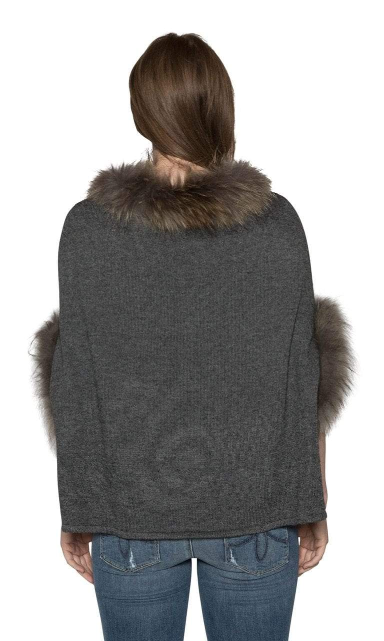 Love Token Walton Genuine Fur Trim Dolman Sleeve Sweater