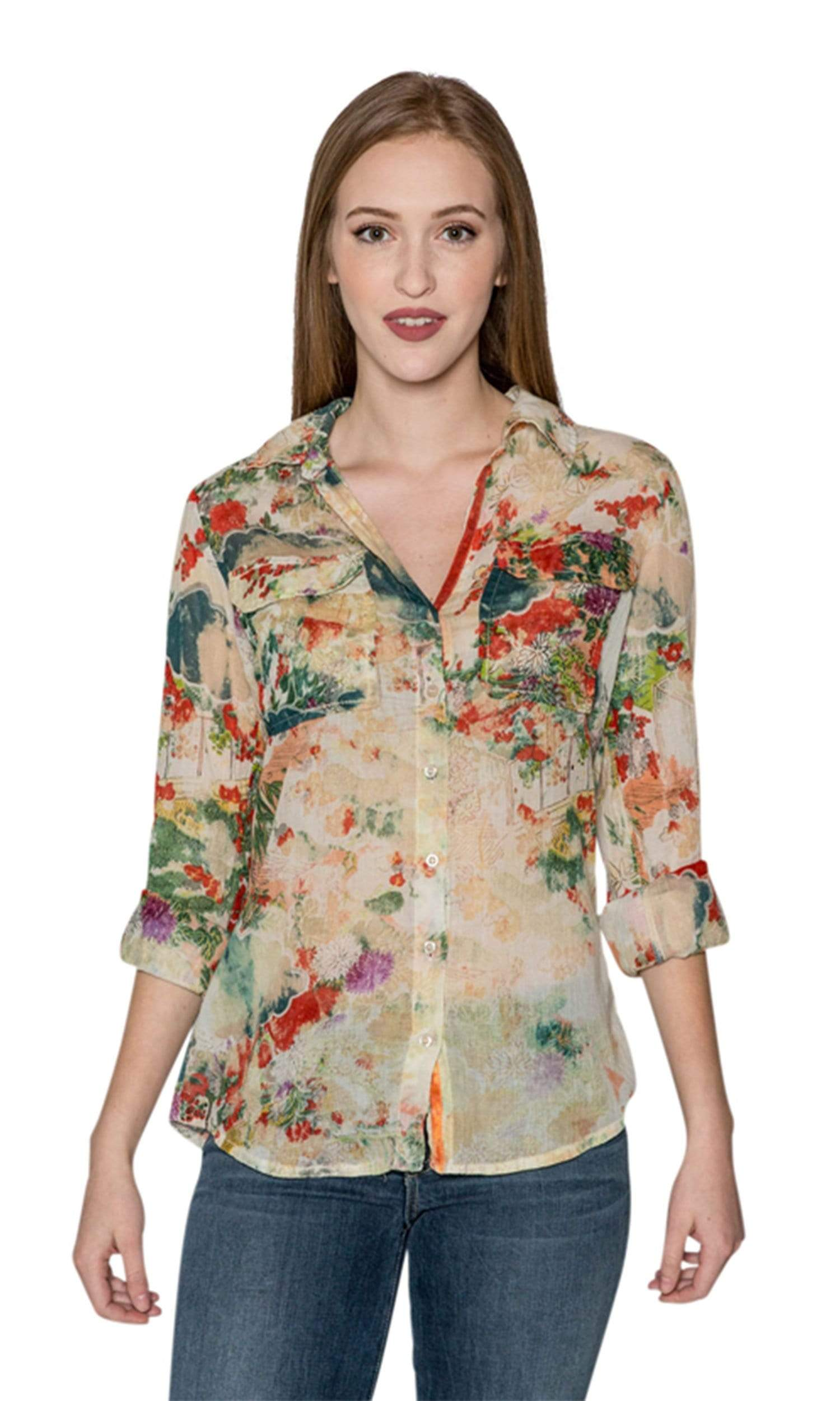 J.A.K. Button Down Green Floral Shirt