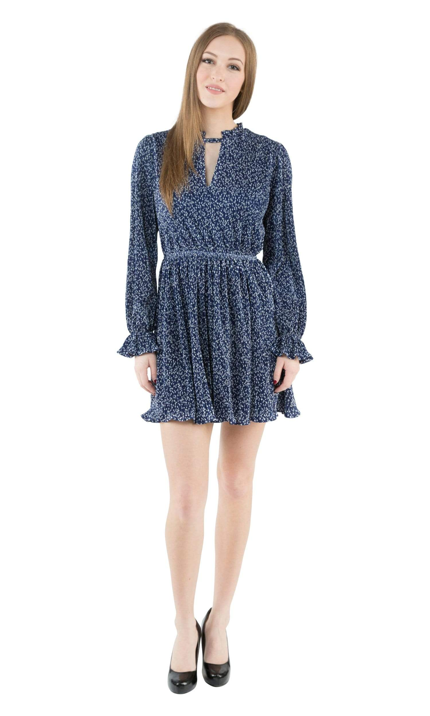 J.O.A. Long Sleeve Dress with Front Cut Out Detail-J.O.A.-Vintage Fringe