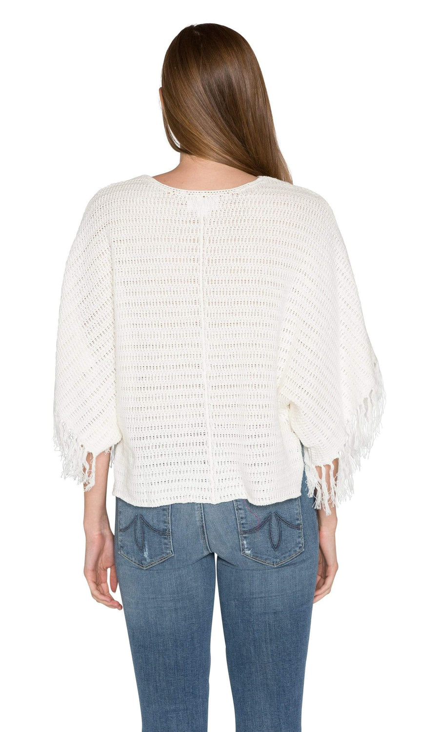Velvet by Graham & Spencer Ashlie Crochet Knit Fringe Sleeve Sweater