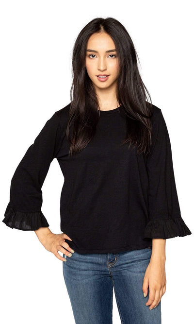Velvet by Graham & Spencer Toriana Cotton Slub Ruffle Sleeve Top-Velvet-Vintage Fringe