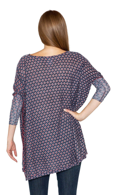 Knitwit Floaty Tunic Light Cashmere - Navy Denim Cross