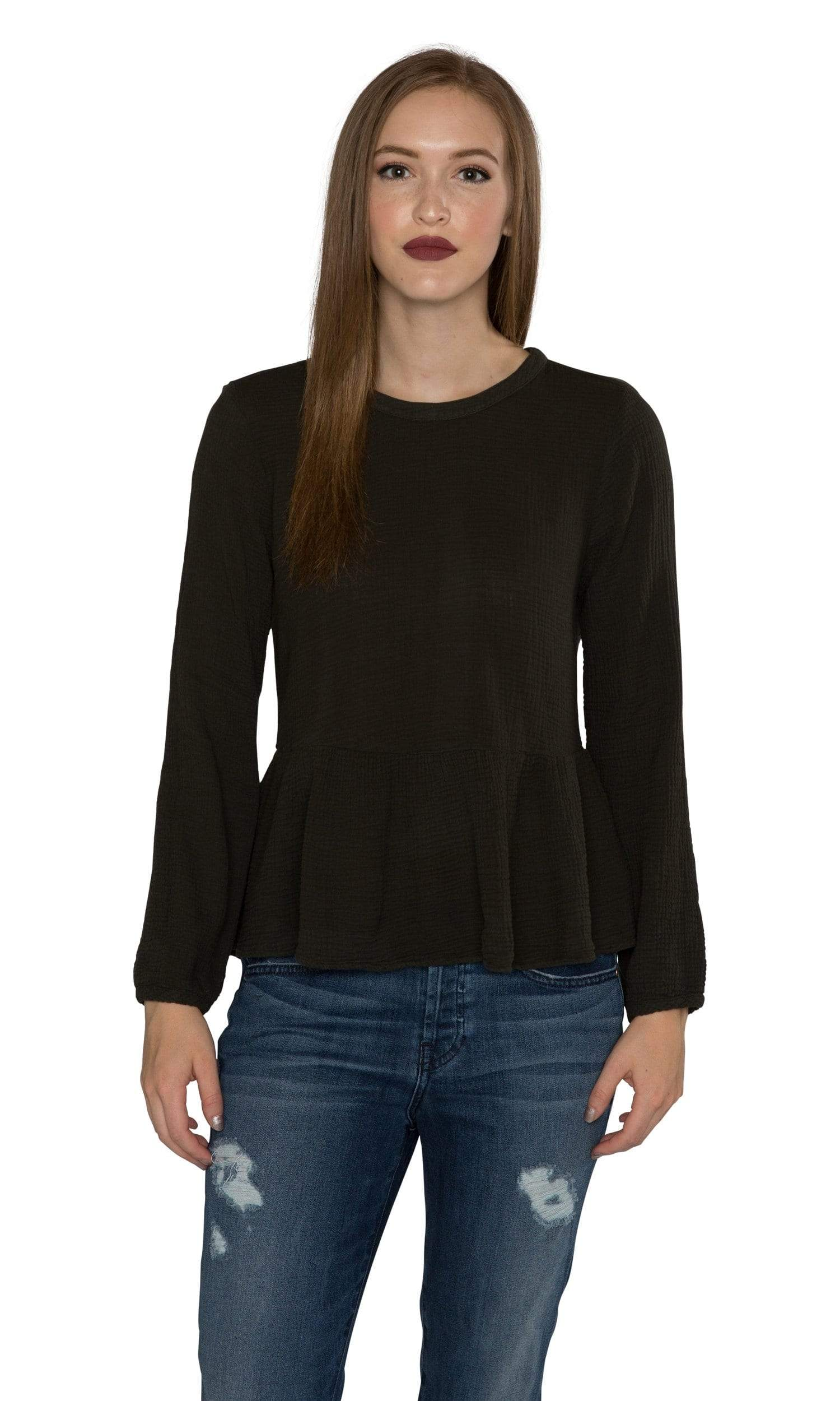 Velvet by Graham & Spencer Hadlee Winter Bubble Gauze Peplum Top