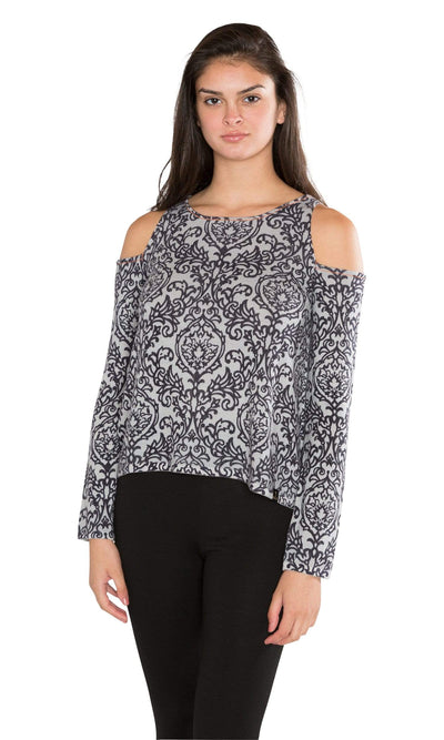 Knitwit Damask Cold Shoulder Light Cashmere-Knitwit-Vintage Fringe