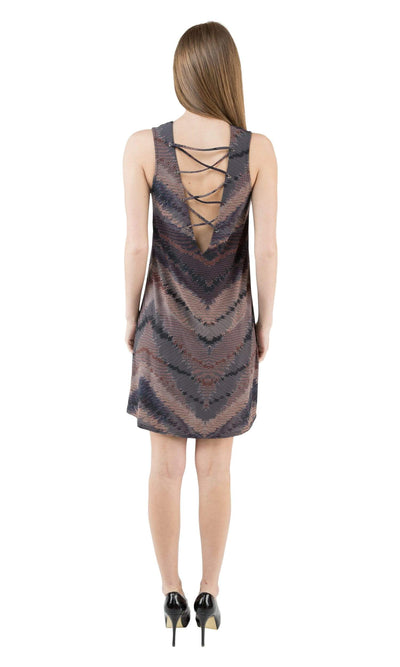 Viereck Astrid Lace-Up Sleeveless Shift Dress