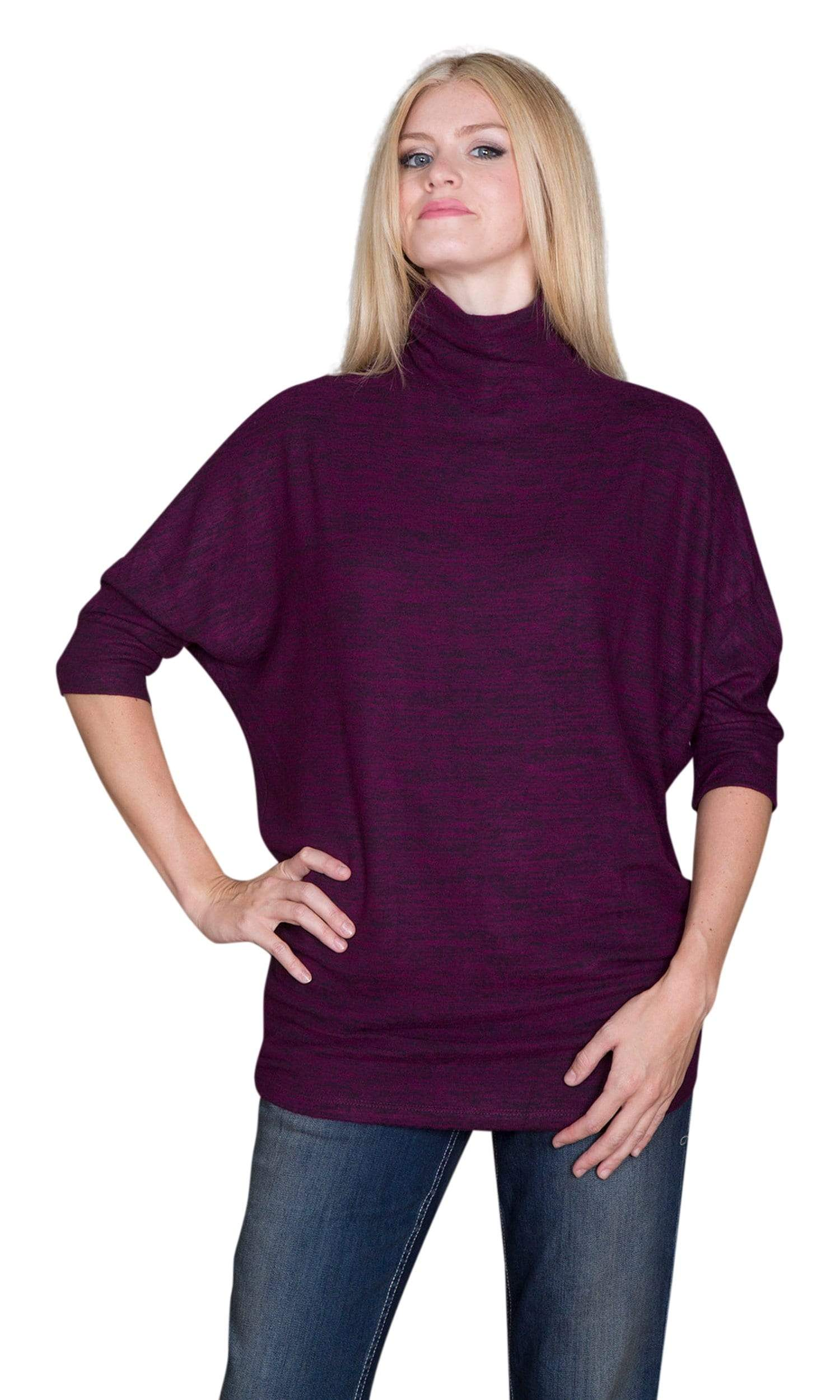 Velvet by Graham & Spencer Eada Cozy Jersey Turtleneck Tunic Top-Velvet-Vintage Fringe