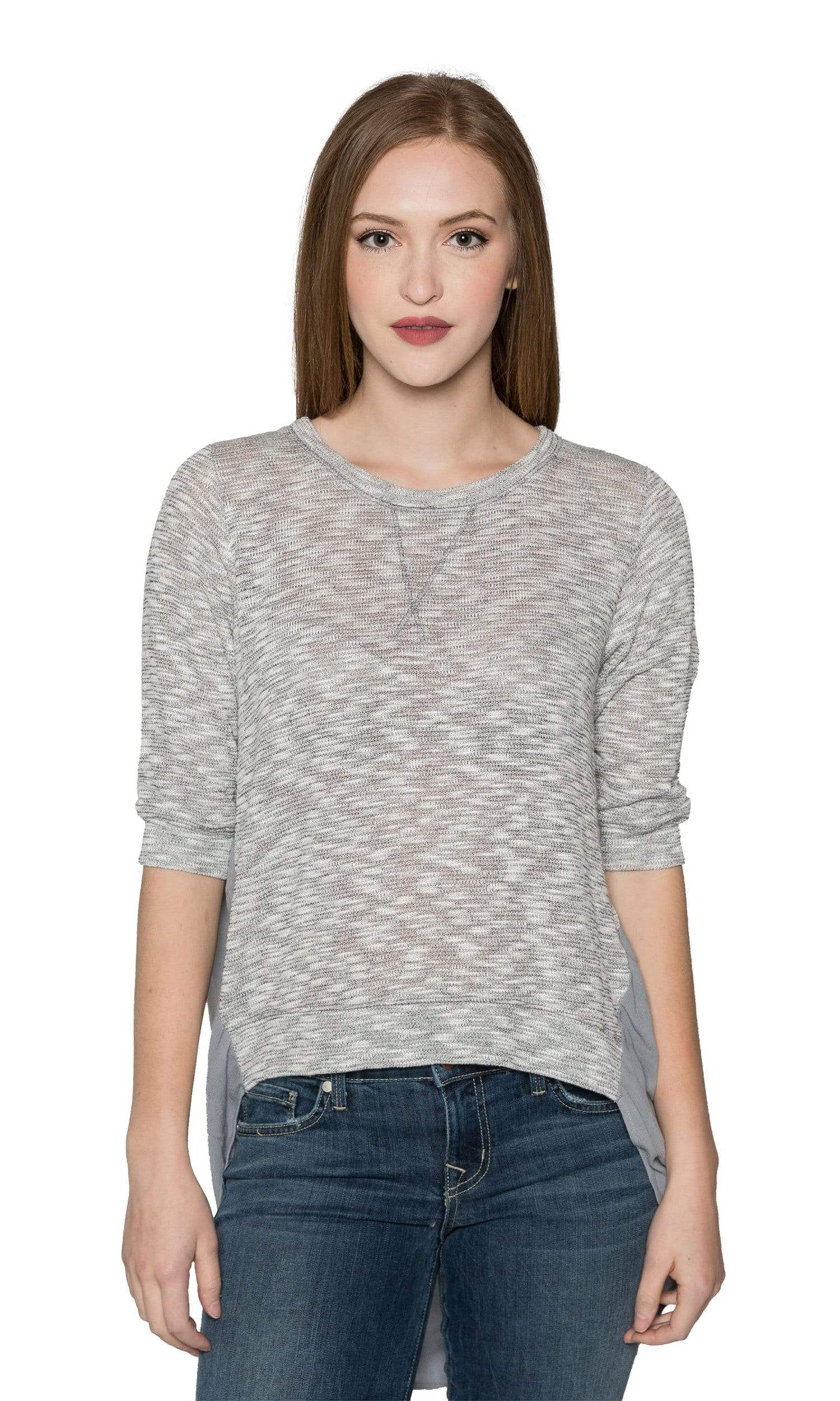 Valln Crewneck Sheer Back Top