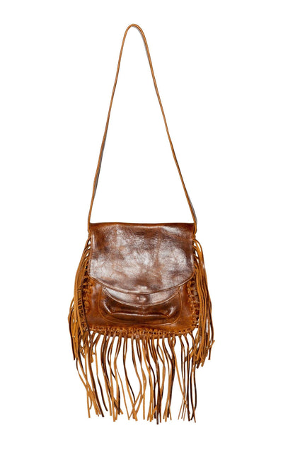 Laggo Maurice Flap over Saddle Bag with Fringe-LAGGO-Vintage Fringe