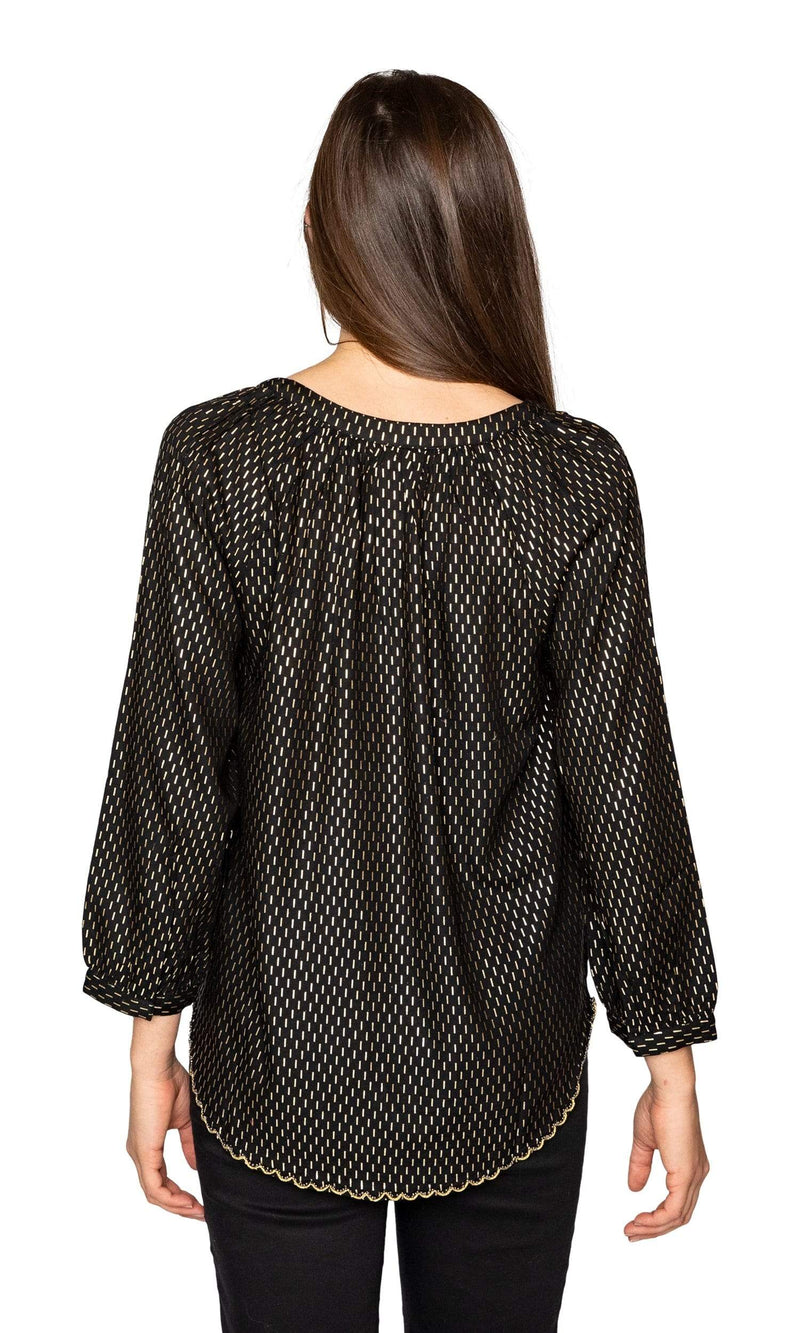 Velvet by Graham & Spencer Milla Gold Printed Peasant Blouse