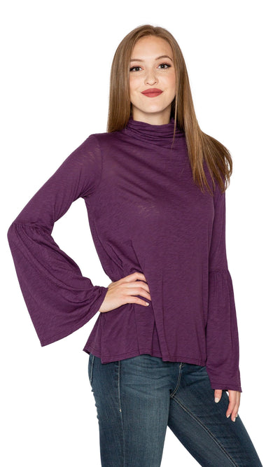 Velvet by Graham & Spencer Xena Lux Slub Bell Sleeve Mock Neck Top