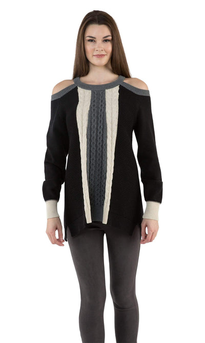 Sogi Cold Shoulder Cable Sweater