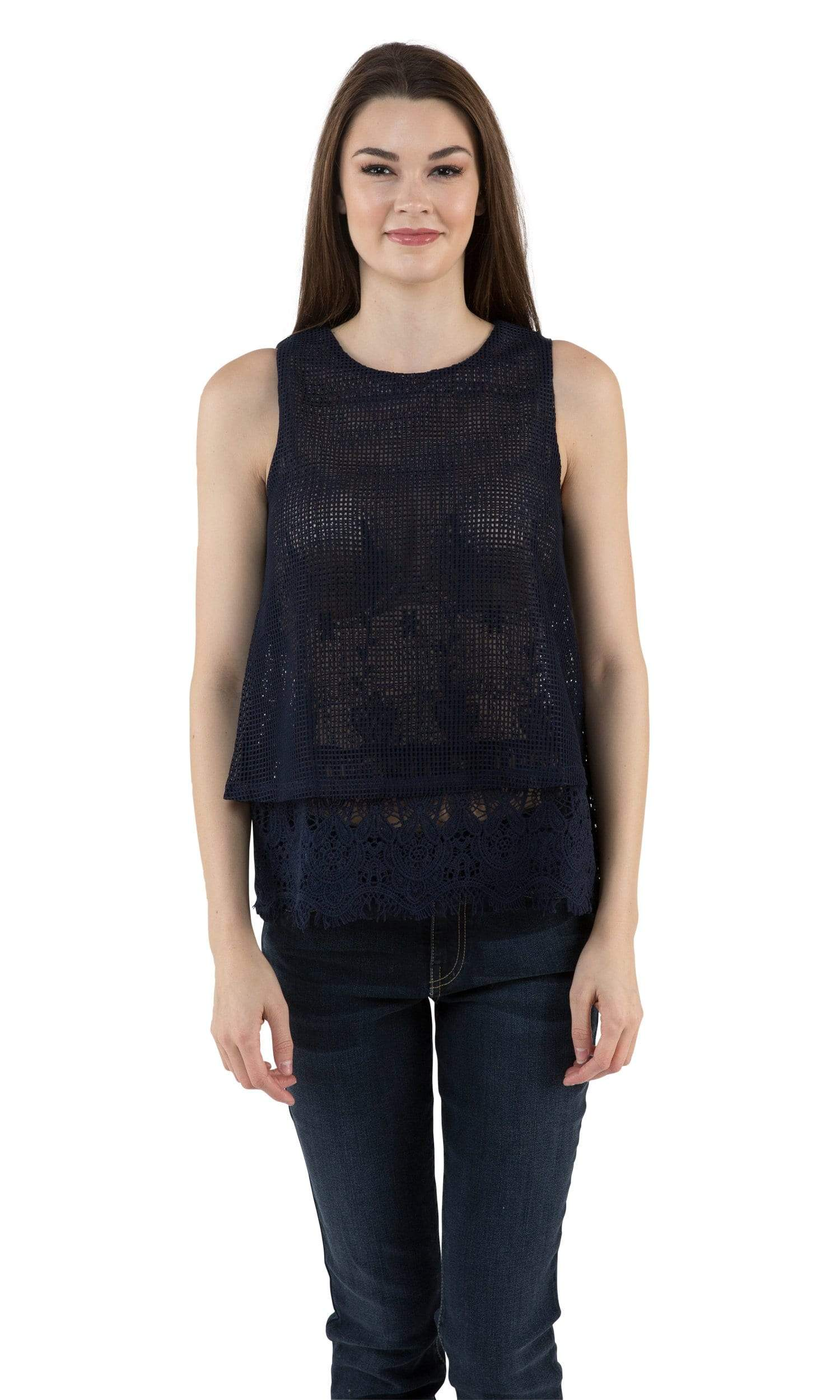 J.O.A. Sleeveless Double Layer Top-J.O.A.-Vintage Fringe