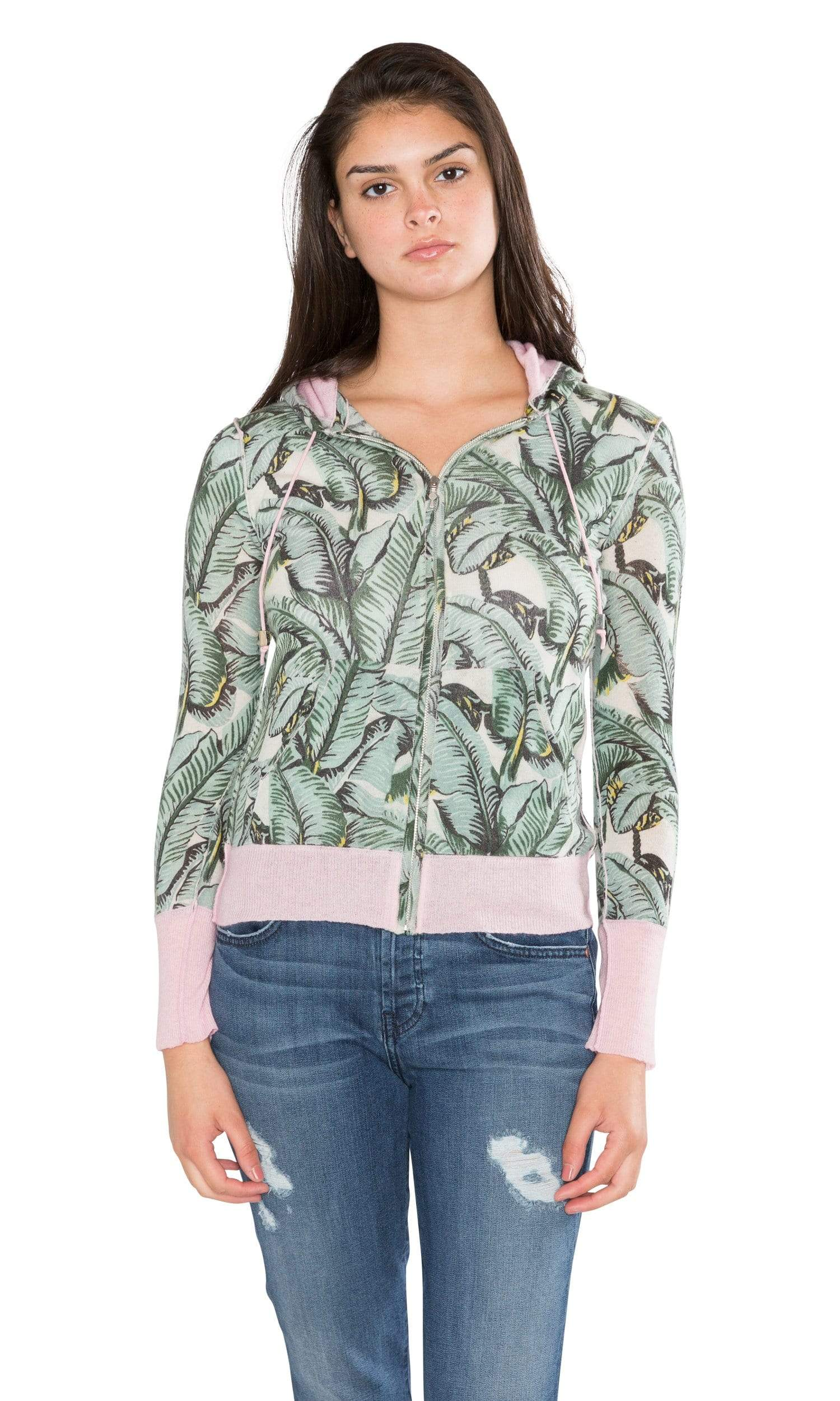 Knitwit Indochine Print Light Cashmere Zip Hoodie