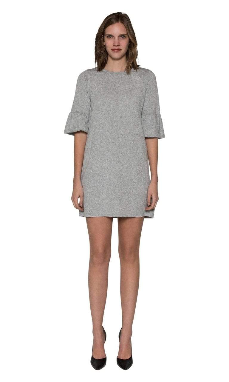 Velvet by Graham & Spencer Annabelle Cotton Slub Ruffle Sleeve Dress-H Grey