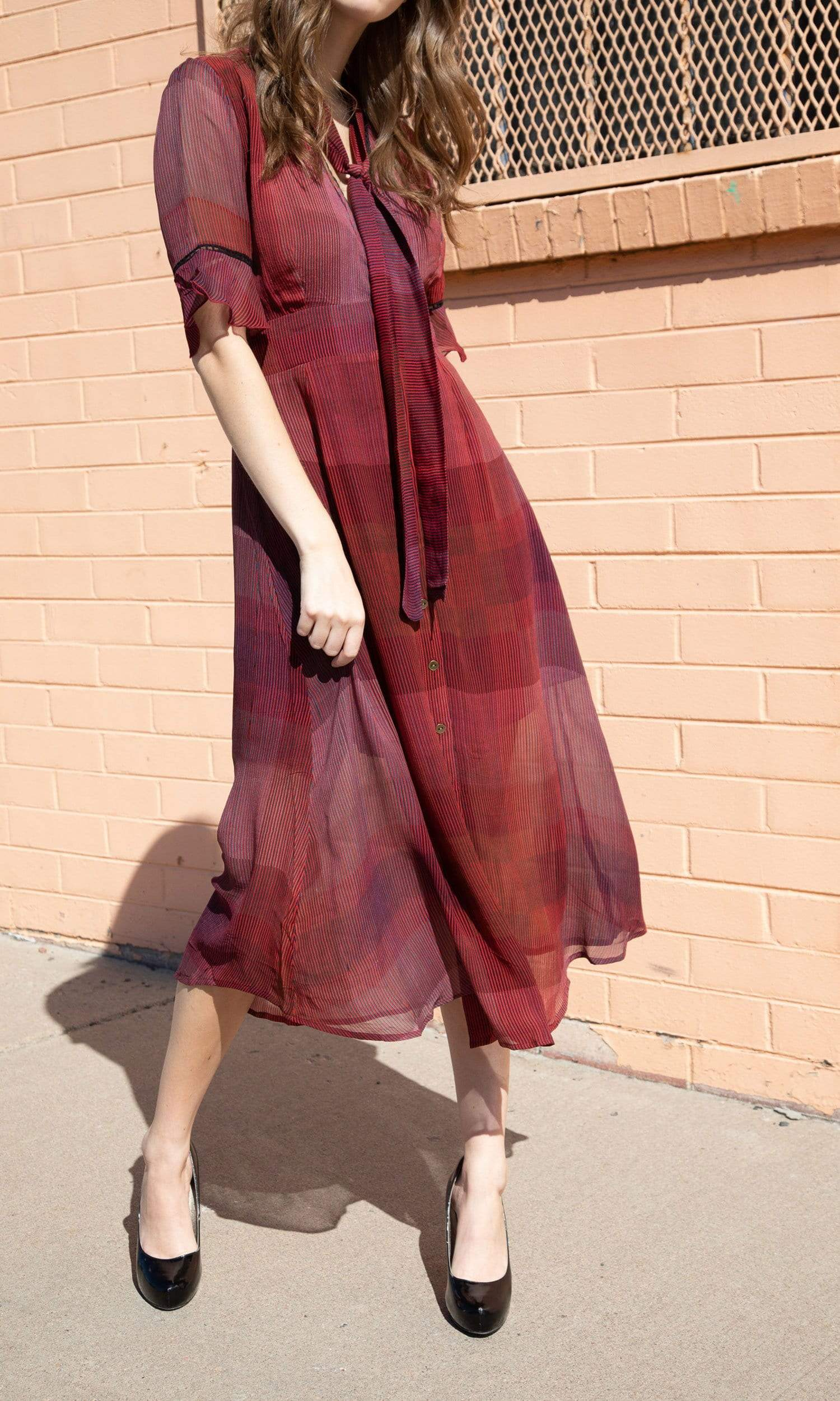 Conditions Apply Era of Fashion Tie Neck Dress