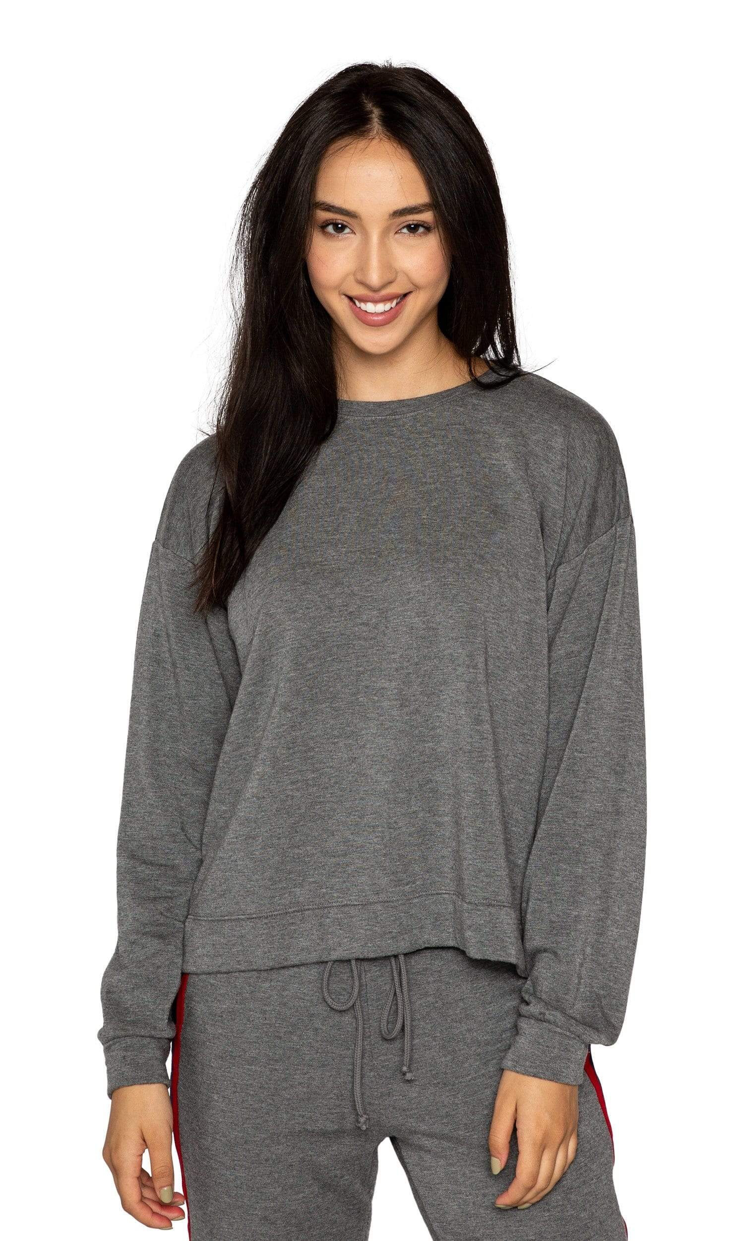 Velvet by Graham & Spencer Danica Striped Crewneck Sweatshirt - Charcoal