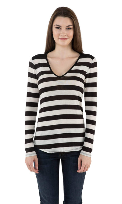 Velvet by Graham & Spencer Kabira Striped V Neck Top-Velvet-Vintage Fringe
