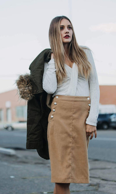 J.O.A. Faux Suede Skirt with Buttons
